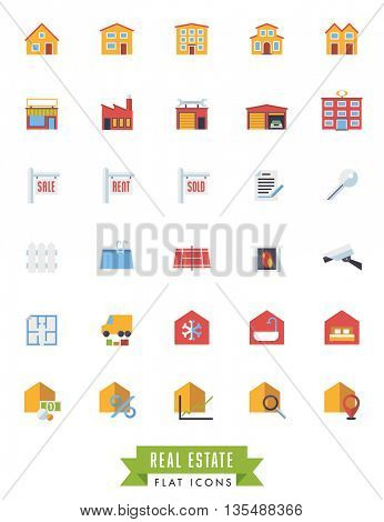 Collection of real estate flat design long shadow icons on white background