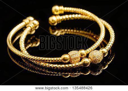 Jewelry and bracelets isolate on black background