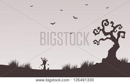 Halloween backgrounds hand zombie tree bat illusttration