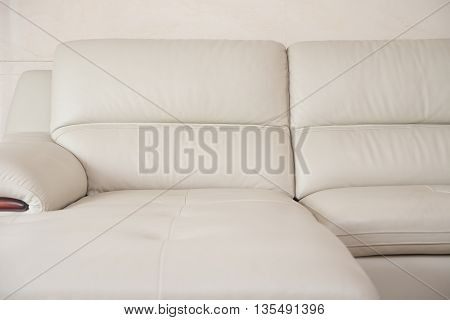 gray comfortable and stylish sofa at home