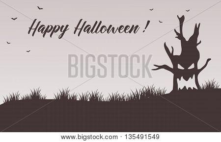 Happy Halloween backgrounds tree monster vector illustration