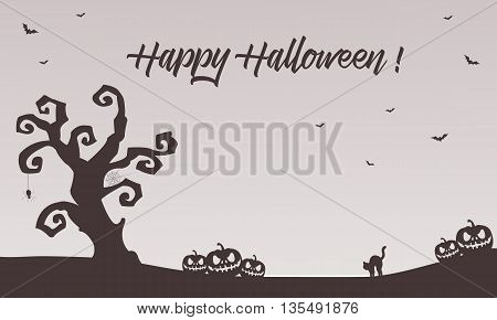 Halloween backgrounds pumpkins cat bat vector illustration