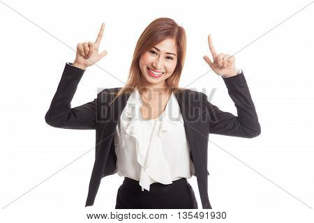 Young Asian Business Woman  Point To Blank Space