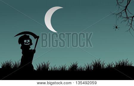 Halloween warlock silhouette at night vector illustration