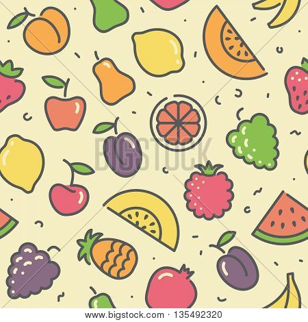 Seamless background with stylized illustrations of fruits and berries