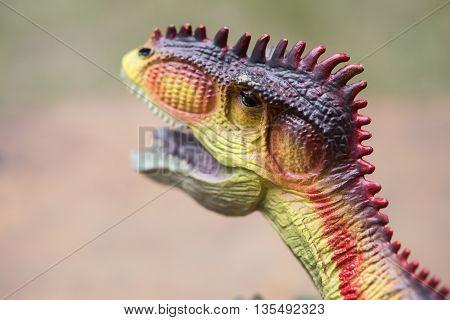 close up on Giganotosaurus toy's head horizontal