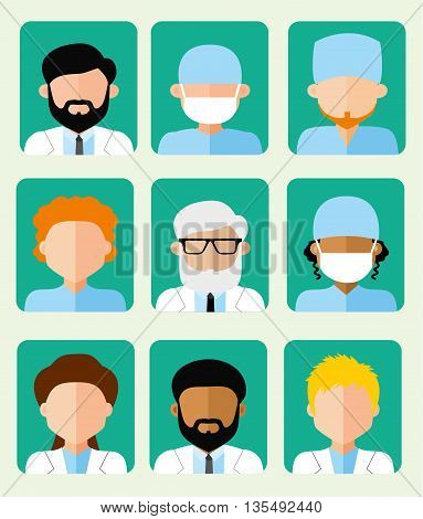 Set of icons avatars doctors, hospital staff, ambulance, flat vector illustration, men and women of different nationalities