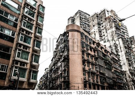 high dense old residential buildings horizontal composition