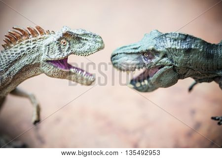a tyrannosaurus and an allosaurus toy on rock