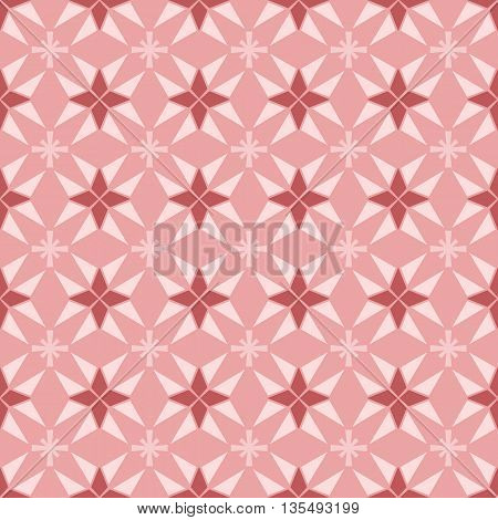 Seamless geometry vector texture floral pattern in pink background