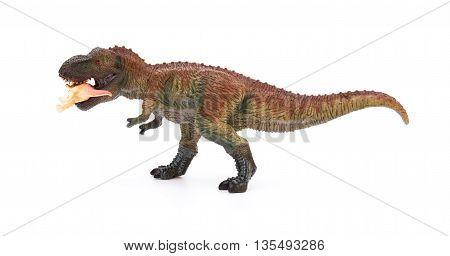 tyrannosaurus bites a smaller dinosaur on a white background