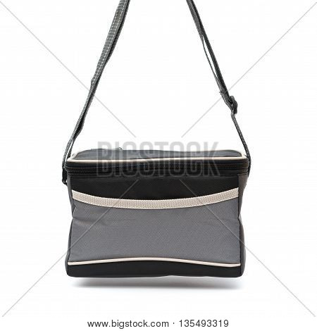 grey lunch pack carrier hanging up on a white background