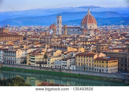 View to Florence from Michelangelo Square in the morning