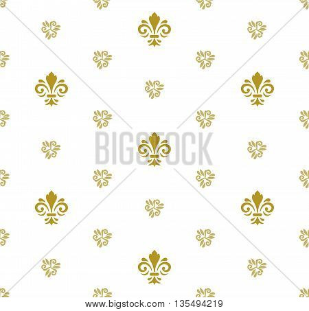 Seamless golden ornament. Modern geometric pattern with royal lilies