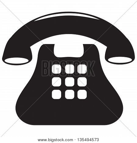 Telephone black Icon flat touch screen landline phone sparse