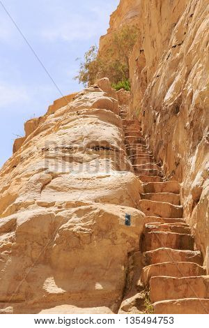 The nature stone staircase in a rock