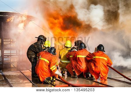 Firefighters training The Employees Annual training Fire fighting