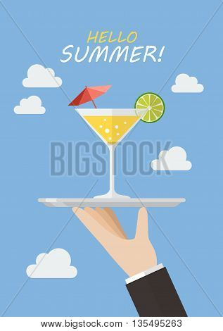 Waiter serving a cocktail drink. Hello summer greeting card