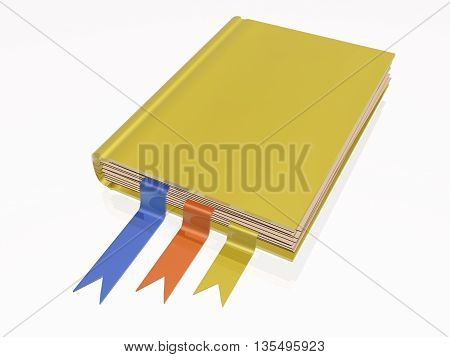 Yellow book white reflective background, 3D illustration.