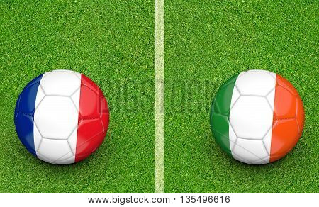 Team balls for France vs Ireland football tournament match, 3D rendering