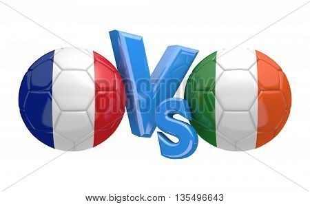Football competition between national teams France and Ireland, 3D rendering