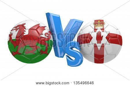 Football competition between national teams Wales and Northern Ireland, 3D rendering