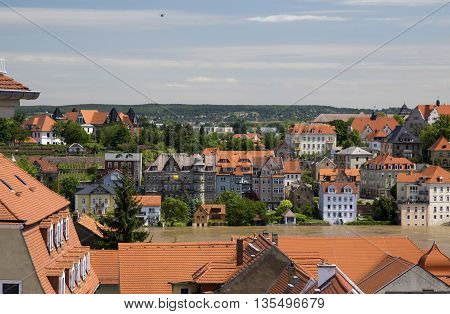 MEISSEN, GERMANY - JUNE 5, 2013: View of the River Elbe, flooded during the flood