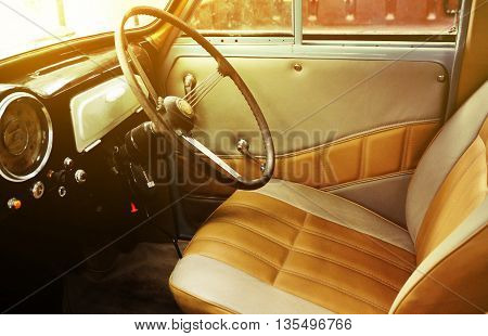 Interior of the retro and vintage car