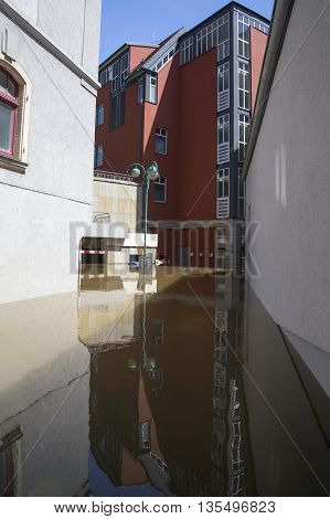 MEISSEN, GERMANY - JUNE 5, 2013: Flooding in Meissen