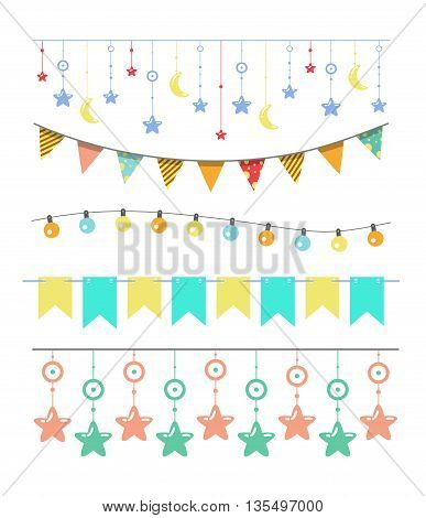 Colorful bunting and garland set isolated on white, vector