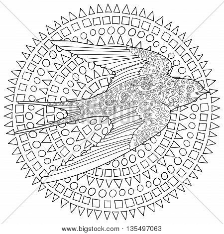 Happy swallow with high details. Adult antistress coloring page. Black and white hand drawn doodle bird. Sketch for tattoo, poster, print, t-shirt in tracery style. Vector illustration.