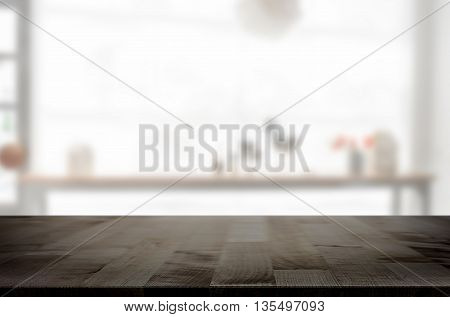 Empty wooden table and space white background product montage display window background.