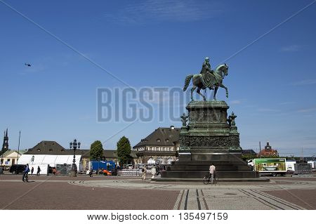 MEISSEN, GERMANY - JUNE 5, 2013:Monument to King Johann of Saxony at the Theater Square in the city of Dresden
