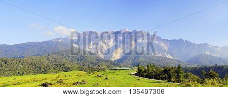 View of Majestic Mount Kinabalu with beautiful blue sky at background