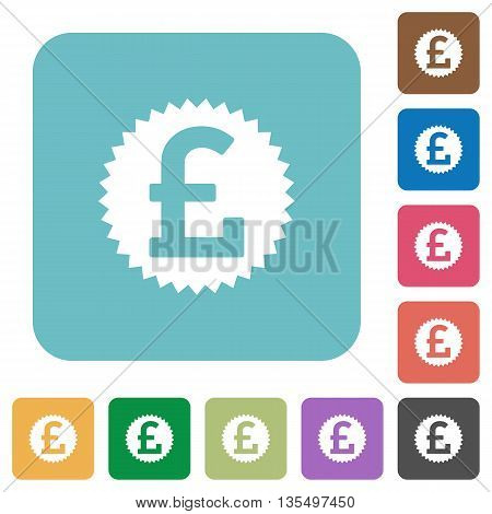 Flat pound sticker icons on rounded square color backgrounds.