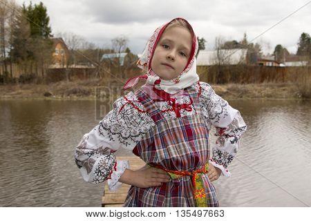 Beautiful Young Russian Girl In National Dress