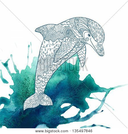 Happy dolphin with high details on watercolor background. Adult antistress coloring page. Hand drawn doodle oceanic animal for art therapy. Sketch for tattoo, poster, t-shirt Vector illustration
