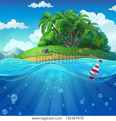 Undersea world with island. Marine life landscape - the ocean and the underwater world with different inhabitants. For design websites and mobile phones printing.