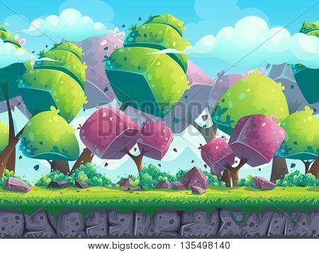 Seamless cartoon natural landscape with futuristic trees. Vector illustration for design graphics print web magazine book web games.