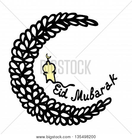 Eid Mubarak lettering with abstract moon on the white background
