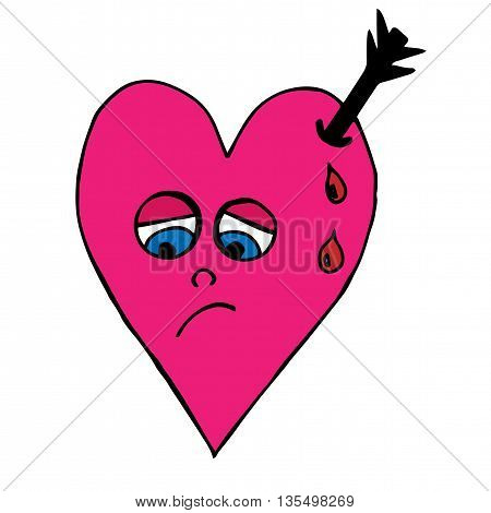Sad pink heart with an arrow and drops of blood on the white background
