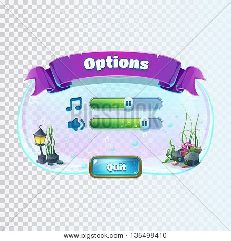 Atlantis ruins playing field - vector illustration volume options window screen to the computer game. Bright background image to create original video or web games graphic design screen savers.