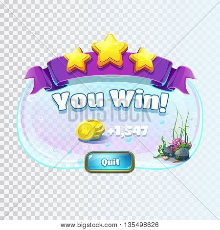 Atlantis ruins playing field - vector illustration winner window screen to the computer game. Bright background image to create original video or web games graphic design screen savers.