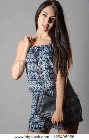 Glamour Beautiful Sexy Brunette Women, Perfect Shape Girl Hairstyle