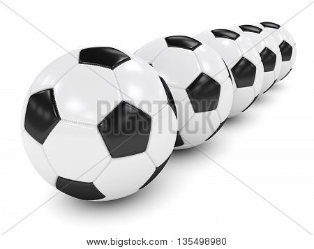 3D Rendered Row Of Soccer Balls Isolated Over White