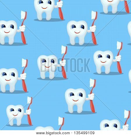 Blue seamless pattern with teeth characters, kids dental care concept