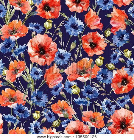 Beautiful pattern with nice watercolor poppy and cornflowers