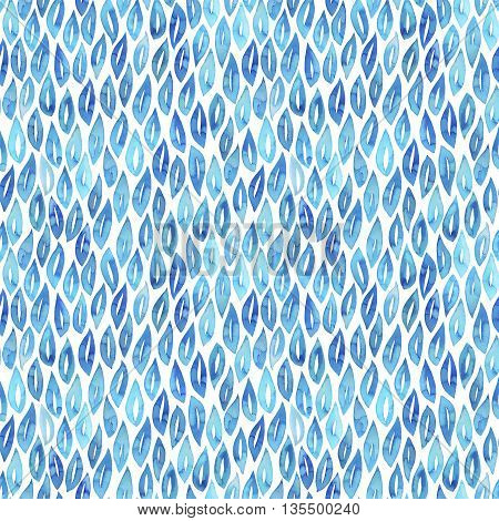 Seamless pattern with blue watercolor leaf. Hand drawn ornament for wrapping paper. Ink illustration. Modern painting. Ornamental illustration.