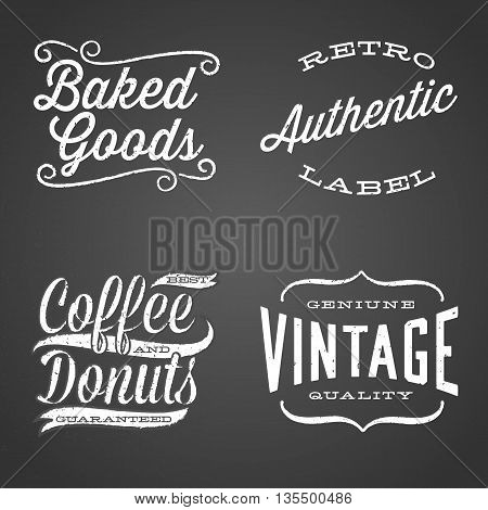 Vintage Chalk Labels - Set of retro chalk label designs.  Each design is grouped for easy editing. Texture can be removed.
