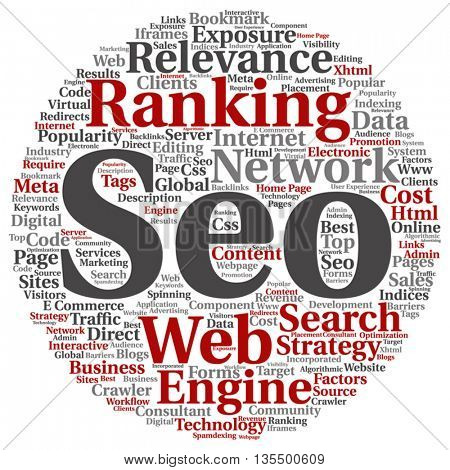 Vector concept or conceptual search engine optimization, seo abstract round word cloud isolated on background